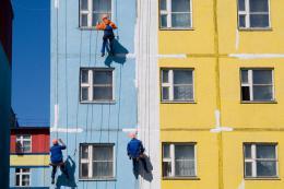 ремонт и покраска фасада многоэтажного дома